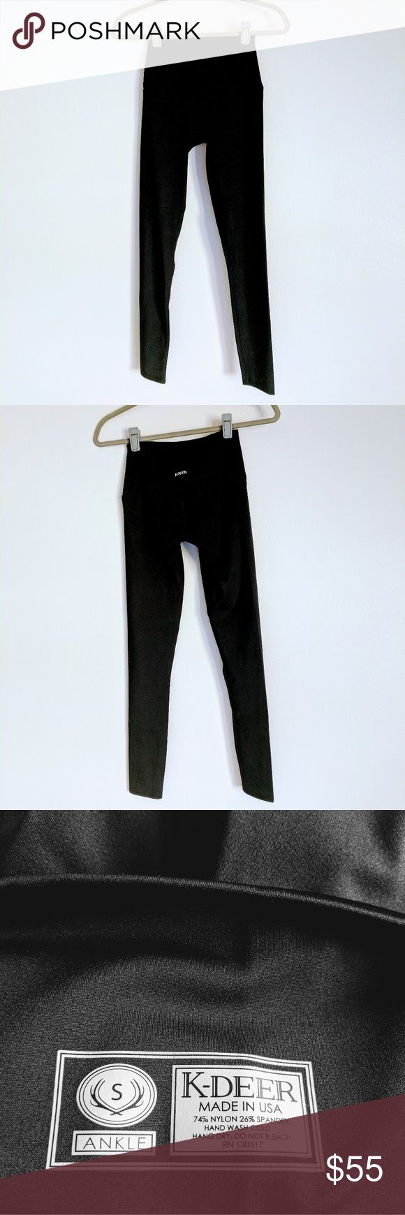 """*NEVER WORN* K-Deer 'sneaker length' leggings Brand new, never worn! Perfect condition, high-quality material. Sneaker/ankle length, fits TTS. At 5'7"""" & 120 lbs, these fit me well, with just enough stretch. I could have sized down to an XS, but I prefer a looser versus a compression type of fit. Only getting rid of these to downsize my closet. 😊 You will love these! K-Deer Pants Leggings"""