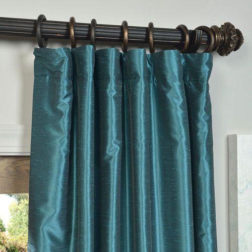 Half Price Drapes Peacock Vintage Textured Faux Dupioni Silk Single Panel Curtain, 50 X 96 Pdch Kbs14 96