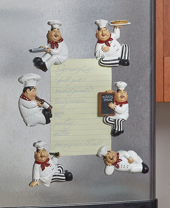 "Get a little help during your daily food prep with this Chef Kitchen Collection. Use the Set of 6 Magnets (approx. 2-5/8""W x 3""L, each) to hang recipes, notes or pictures on your fridge. Magnets not f"