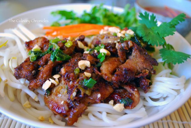 Best Recipe (Mi) : Vietnamese grilled pork // 2 T Garlic, minced 3 T Shallots, minced 3 T Lemongrass, very finely minced  2 Green Onions, chopped 3 T Cilantro, finely chopped 1 T Brown Sugar 1 T Honey 1 T Fish Sauce  2 T Soy Sauce 1 t black Pepper 1 lb Pork Shoulder, sliced into 2-3 inch strips  Make sauce & marinate meat for few hours or overnight then grill or broil in the oven.