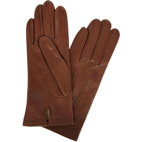 Womens Leather Gloves Dents Chestnut Brown Silk-lined Leather Gloves ($93) ❤ liked on Polyvore featuring accessories, gloves, dents gloves and leather gloves