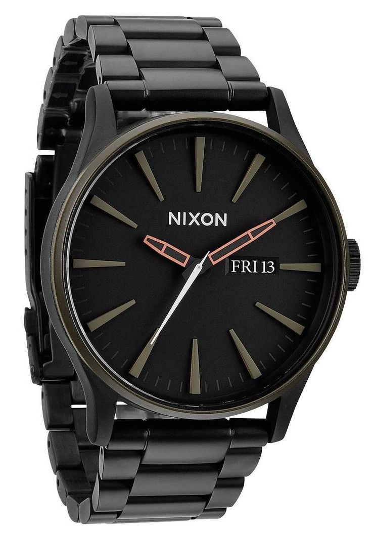 Black Nixon Watch | Nixon The Sentry SS Watch - Matte Black/ Industrial Green | A Nixon Watch - The Perfect Gift  @ KJ Beckett
