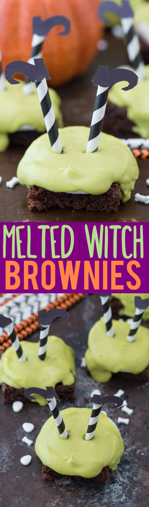 Celebrate Halloween with melted witch brownies! They are so cute, simple to put together with a box of brownie mix, marshmallows, and candy melts!