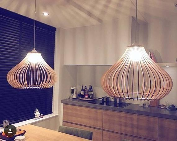 Bois Lampe Bois Shade Suspension Light Plafond Decoratif
