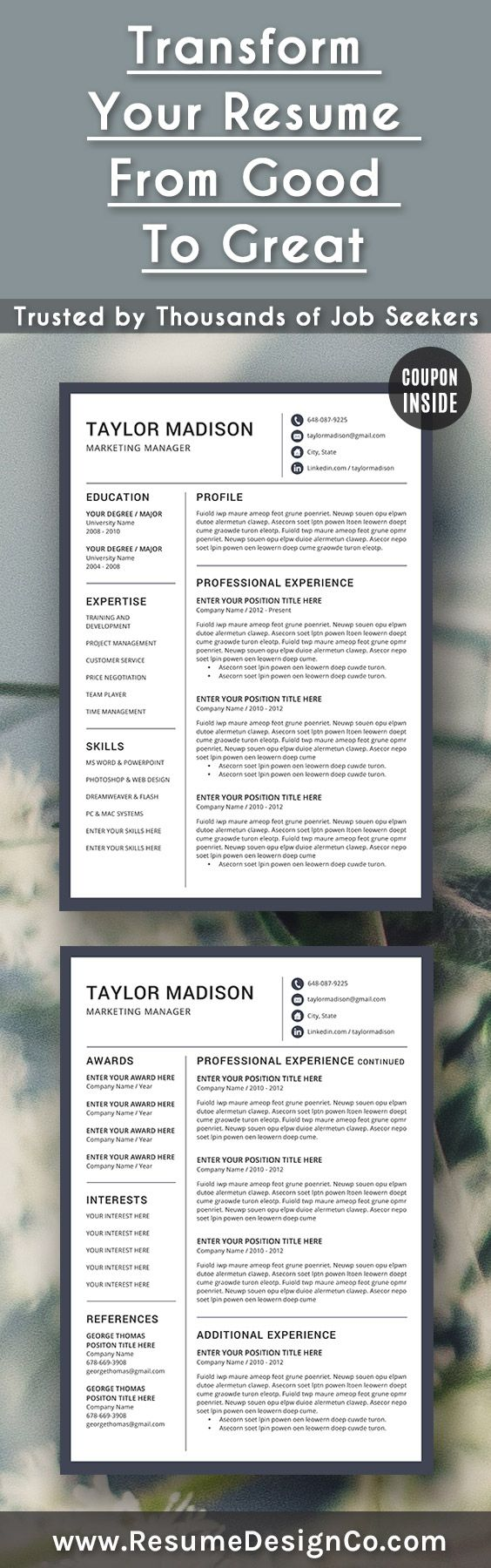Part Time Job Resume Template%0A Transform your resume from good to great  Trusted by thousands of job  seekers  ResumeDesignCo