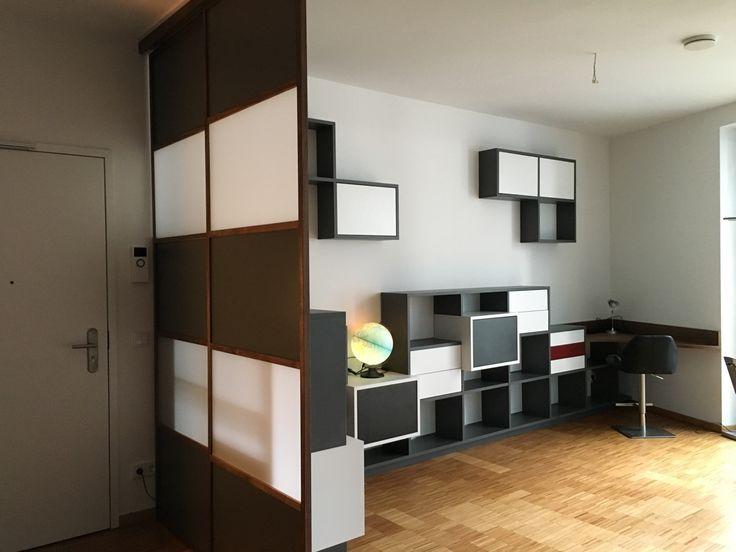 Neue Aufteilung des Wohn-, Ess- und Arbeitsbereiches durch ein modulares #Tetris #Regalsystem
