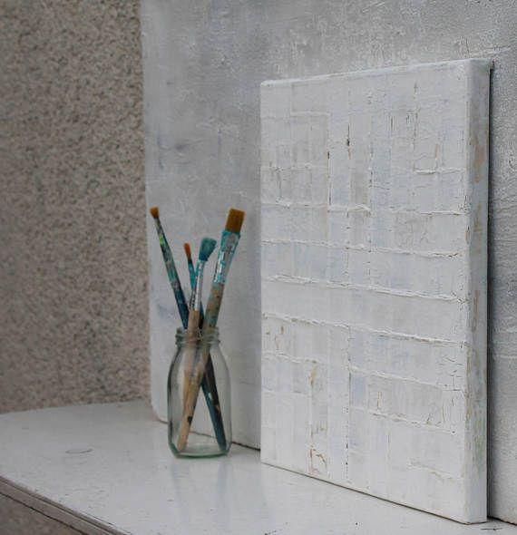 Abstrakte-Malerei weiss Acrylmalerei Mischtechnik