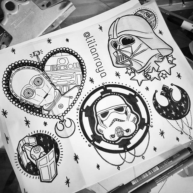 New tattoo flash! :) #starwars #starwarstattooflash #starwarstattoo…