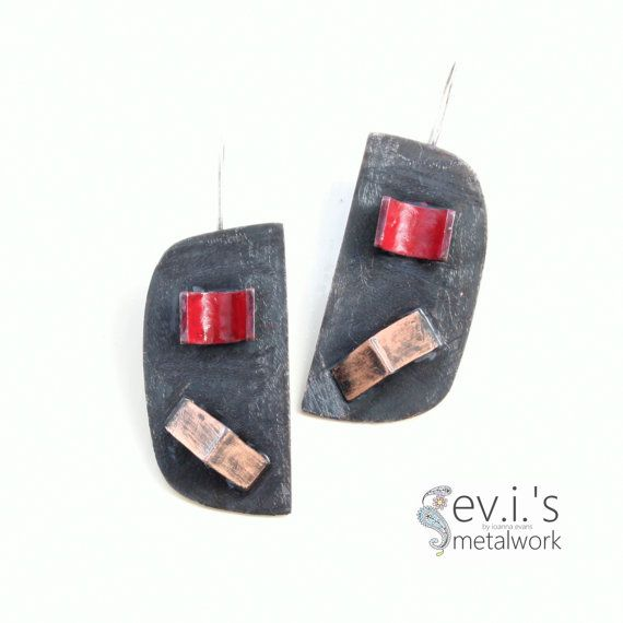 3d Square Red Semi Cylinder Earrings Copper by evismetalwork, €32.00