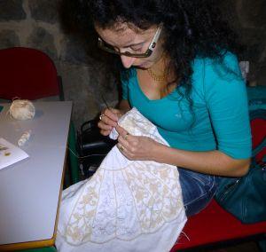 Allessandra working on fan