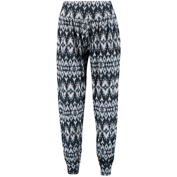 Boohoo Fiona Tribal Print Harem Trousers ($14) ❤ liked on Polyvore featuring pants, bottoms, pantalon, pants/jeans, wide-leg pants, cigarette trousers, tribal print pants, skinny pants and tapered pants