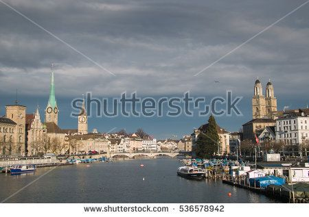 Beautiful view of Zurich and river Limmat, Switzerland #Zurich #City #Town #Switzerland #europe #Storm #Clouds #Cathedral