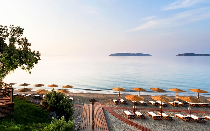 Panoramic view of the Vasilias beach of Skiathos island in Greece, as seen from the Kassandra Bay, 5 Star Luxury Hotel