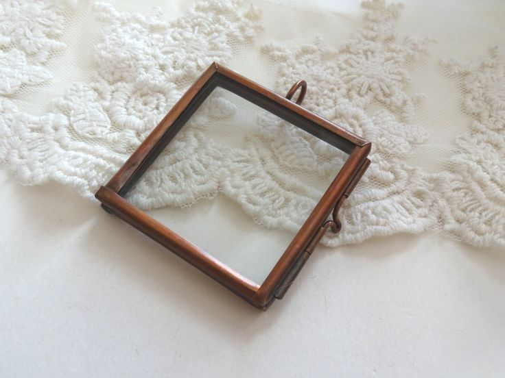 1 Large Square Glass Locket Red Copper Clear Double Glass