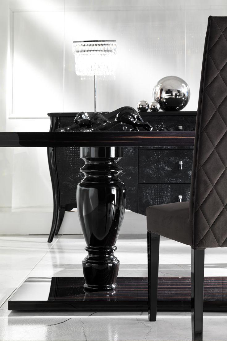Large Ebony Dining Table Set Italian Furniture