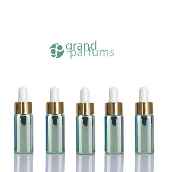 5 Mini 5ml GLASS Essential Oil Glass Dropper Bottles 1/6 Oz