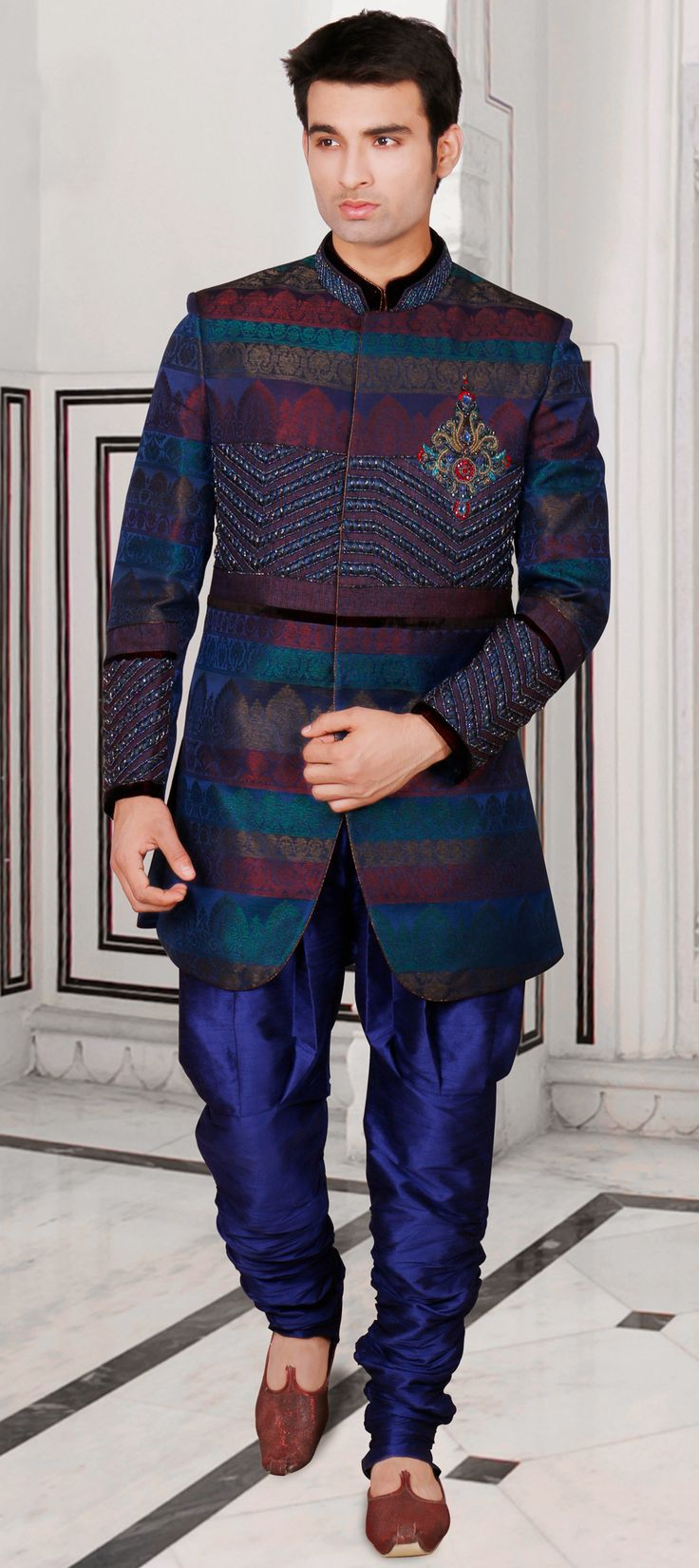 14561: Blue color family IndoWestern Dress.