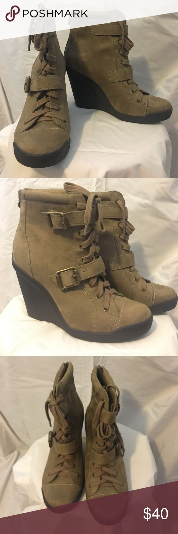 Simply Vera Vera Wang Wedge Booties NWOT, Simply Vera Vera Wang by Kohls faux suede sneaker wedge ankle booties. Simply Vera Vera Wang Shoes Ankle Boots & Booties
