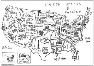 US map colouring page + landmarks coloring pages and links to more. Small detail coloring - good for calming down.