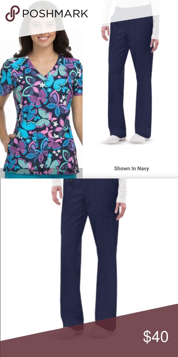 New Nurse Medical Uniform Scrubs Set New Nurse Medical Uniform Scrub Set Sz Large Med Couture butterfly 🦋 print top paired with Healing Hands Navy Kenzie Cargo scrub pants. Both items size large- simply lovely! Price firm. Tops