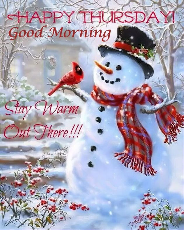 Winter Snowman Good Morning Thursday Quote