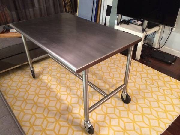 Awesome stainless steel table / desk $249 -  http://furnishly.com/awesome-stainless-steel-table-desk-11699.html
