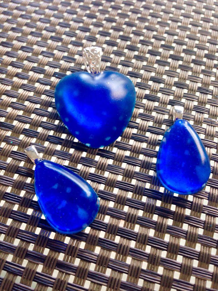 Heart & tear drop of deep ocean  #resin jewellery # diy #handcraft