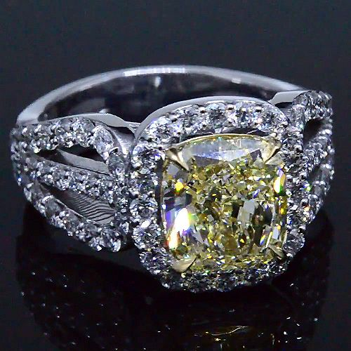 3.67 Ct. Radiant Cut Fancy Yellow Diamond Engagement Ring - Recently Sold Engagement Rings