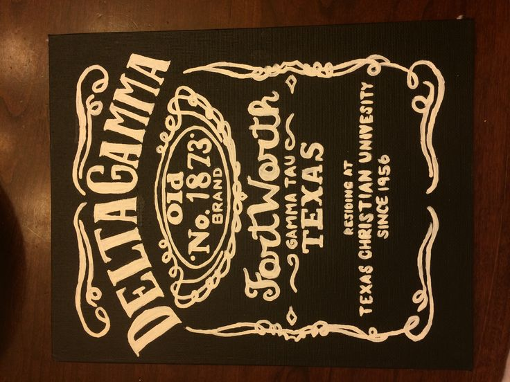 Delta gamma sorority canvas craft DIY. Jack Daniels whiskey