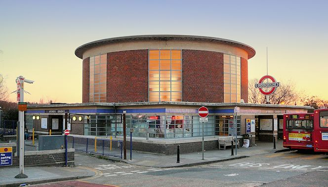 "Arnos Grove station ""is truly what German art historians would describe as a gesamtkunstwerk, a total and entire work of art"", according to Jonathan Glancey."