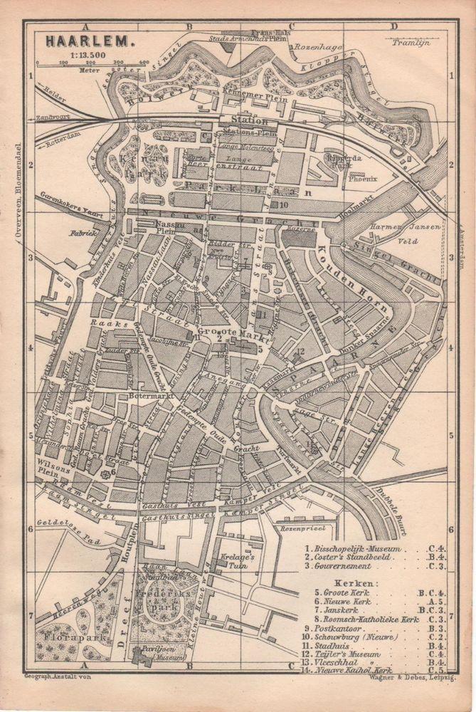 Antique Map Haarlem Holland 1897 Cartina Mappa Antica Karte Plan
