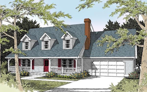 Cape cod country house plan 91631 kitchen dining rooms for Cape cod garage