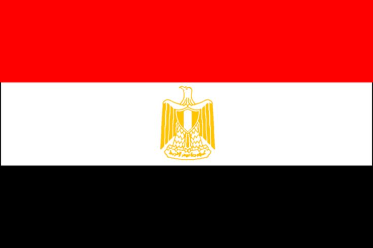 The flag of Egypt was adopted in 1984. The flag consists of 3 horizontal bands, red, white and black, of equal width. The colors are of the Arab Liberation flag dating back to the Egyptian Revolution