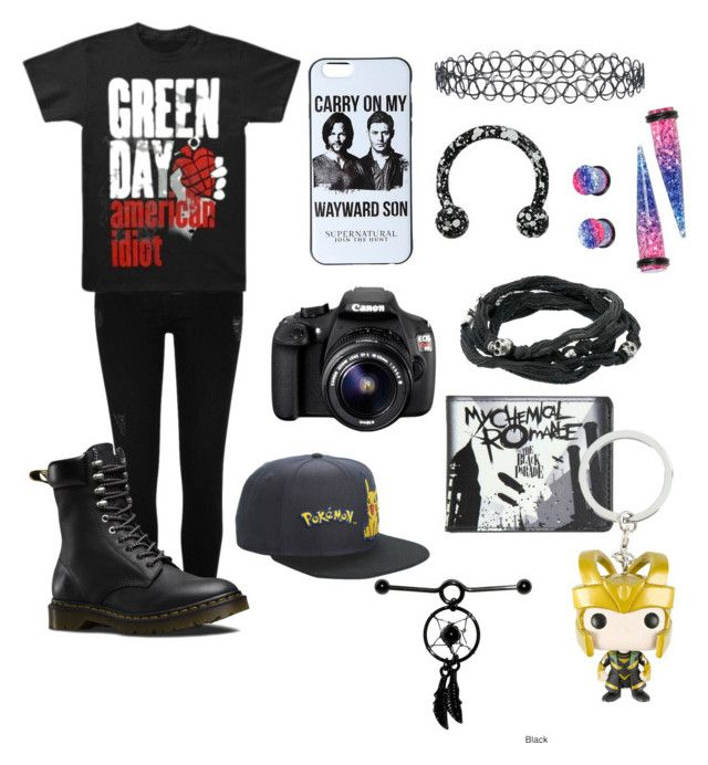 """Untitled #8"" by karmaakbane on Polyvore featuring River Island, Dr. Martens, Eos, New Look, King Baby Studio and Nintendo"
