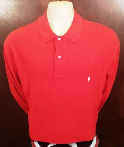 Polo Ralph Luaren 2XL BIG Red Golf Polo Long Sleeve Mens Shirt Excellent $19.99