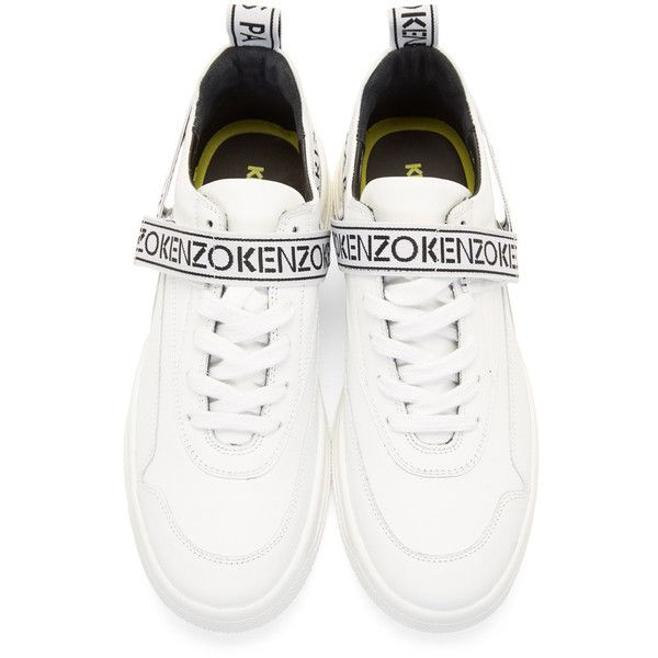 Kenzo White Calvin Sneakers ($285) ❤ liked on Polyvore featuring men's fashion, men's shoes, men's sneakers, mens white shoes, mens velcro shoes, mens woven shoes, kenzo mens shoes and mens white velcro shoes