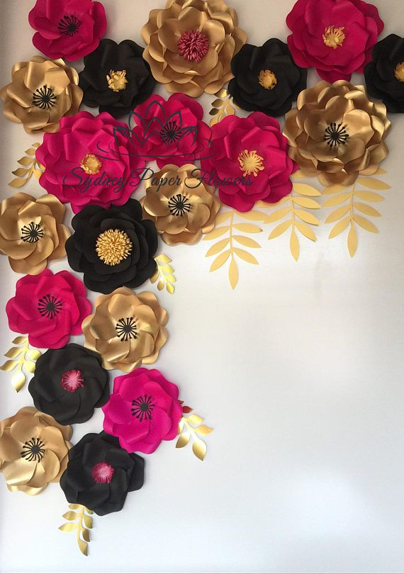 Kate Spade inspired backdrop Wild rose flowers and leaves   (pictured in hot pink, black and sprayed gold corner size is 125cm/4ft wide and 170cm/5.5 high, fuul size backdrop 150 cmx 170 cm) *if you wish to form an arch as on 2nd picture - add 2 items on checkout to double the amount of flowers  IDEA: pin them to a stripy fabric backdrop when styling a Kate Spade inspired party (we add pins at a separate costs - see below) IDEA: going on a budget? see our Kate Spade inspired FANS ba...