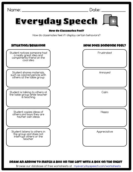 Free Social Skills Worksheets and Worksheet Creator
