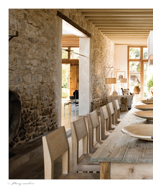 Stone walls & beams on ceiling