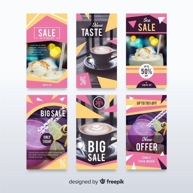 Sale Banner Collection For Social Media Free Vector Freepik Freevector In 2020 Instagram Story Template Social Media Design Graphics Sale Banner
