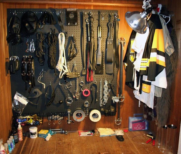 #NAUGHTY #ROOM #BDSM #PADDLES #HOT #KINKY #FLOGGER #ROPE #TAPE #GAG ours fills up damn near half a wall at the moment. We plan on turning my xxl armoire into a bdsm toy case.