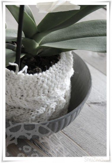 cable knit plant pot covers x