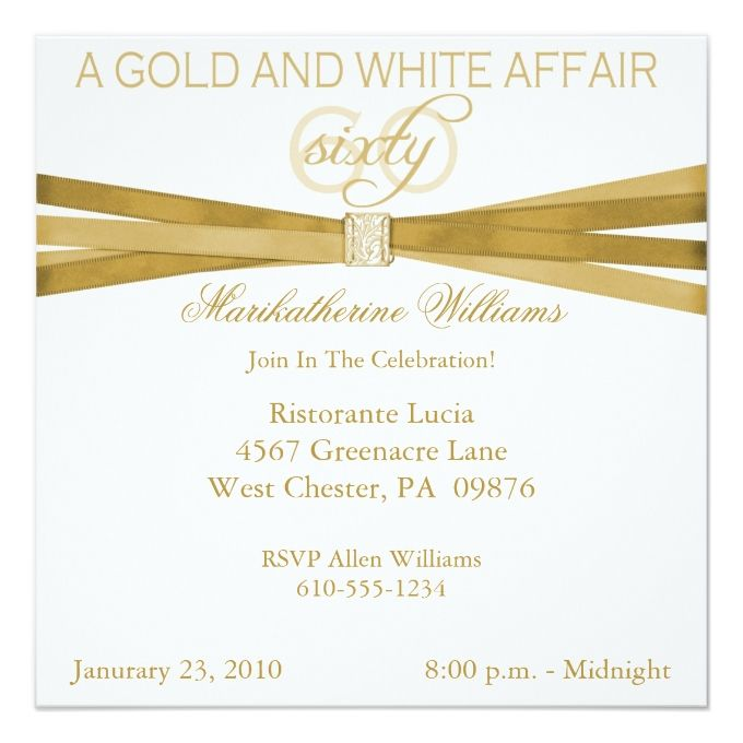 1404 best 60th birthday invitations images on pinterest 60th gold white 60th birthday party invitations stopboris Gallery