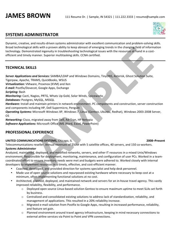 Sample Resume - Systems Administrator - done by Café Edit R - it administrator sample resume