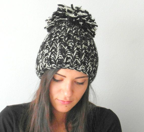 POM POM Knitted Hat  Hand Knitted Hat  Womens gift  by EllenaKnits
