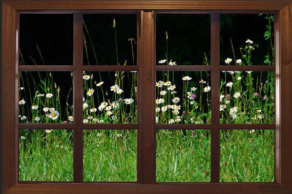 Wall Decal Wildflower Garden Window Viewlarge 24x36 By CatsMeowArt