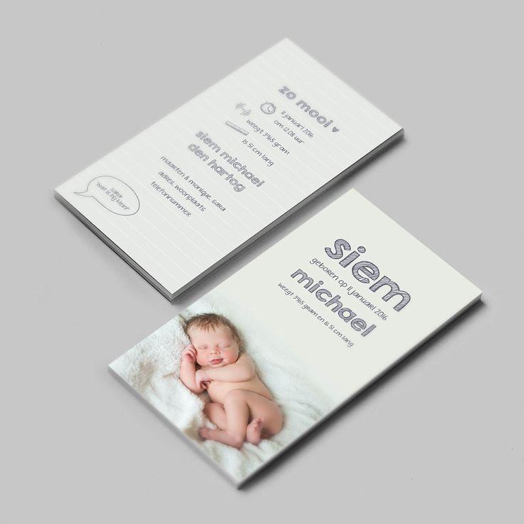 Geboortekaartje Siem | new born fotografie | foto | baby | jongen | zacht grijs | tekeningetjes |  doodle | bijzonder formaat | uniek kaartje | Studio Altena