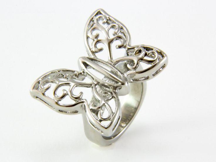 Pillangó motívumos nemesacél gyűrű