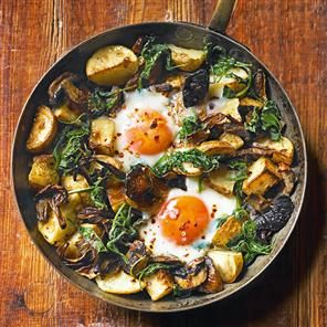 Baked eggs with mushrooms, potatoes, spinach and gruyère recipe. This baked eggs recipe is made using just one pan and is great to share for brunch