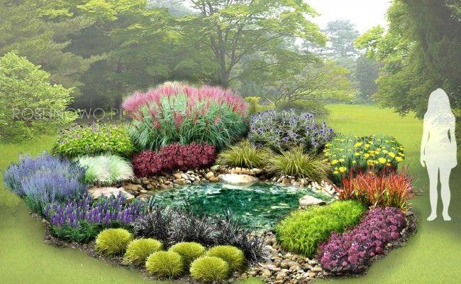 Gotowy Projekt Ogrodu Oczko Wodne Wsrod Traw I Bylin Na Stanowisko Sloneczne Zestaw Projekt 94 Sadzonki Plants Outdoor Decor Outdoor